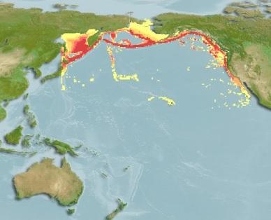 Карта распространения угольной рыбы